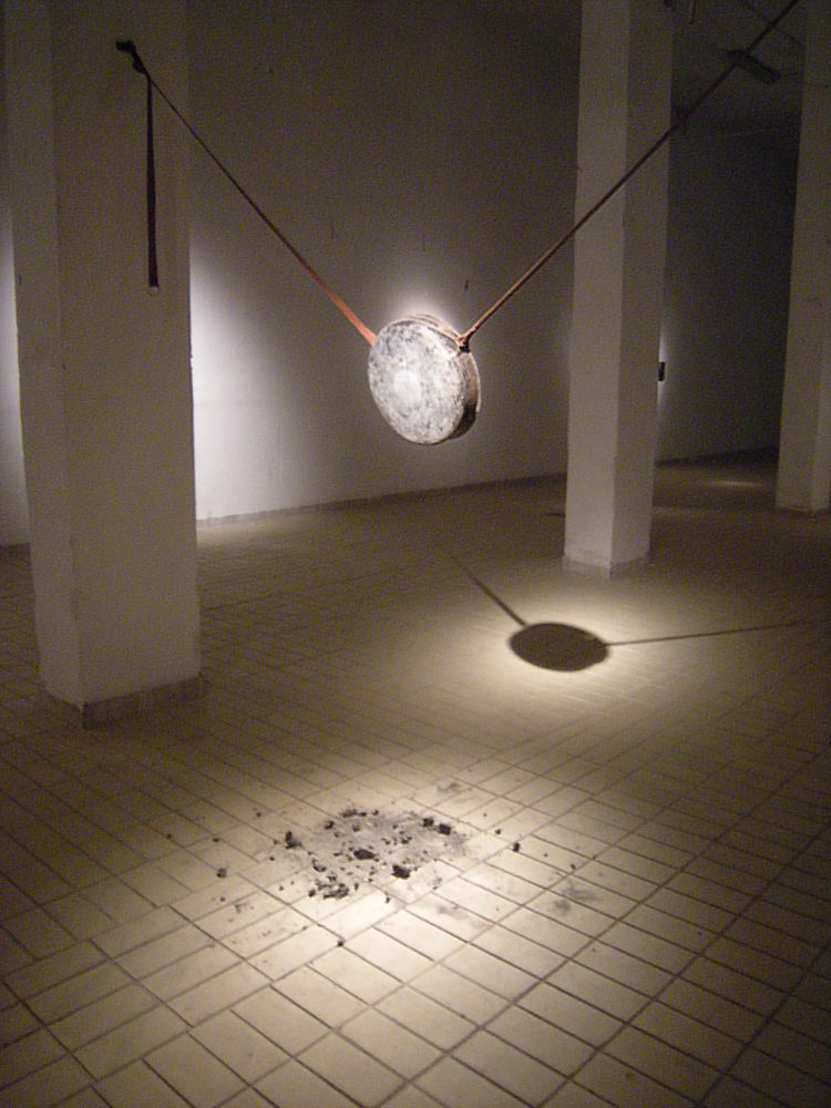 Nangdrol, installation view at Tme in Jazz Festival, Bechidda, iron's brazier, leather, 2012