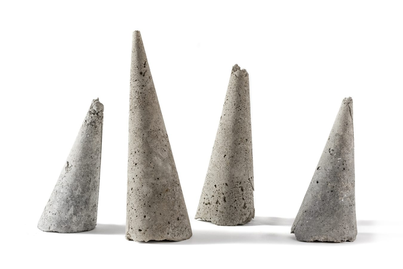 Untitled, ash cones, h 30 cm. three elements, 2008 - in progress (photo by Pier Luigi Dessì)